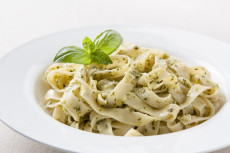 Plate of fettuccini with pesto