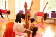 Exercising at yoga class