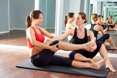 pregnant woman pilates exercise workout at gym