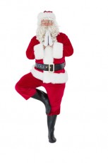 Santa claus in tree pose on white background