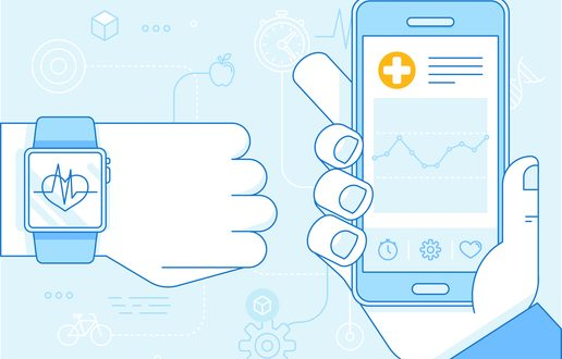 Vector flat linear illustration in blue colors - health app on the mobile phone and smart watch - health monitoring with mobile gadgets concept