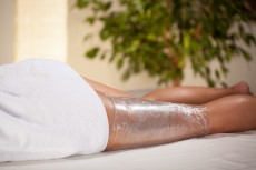 Body wrapping in spa room