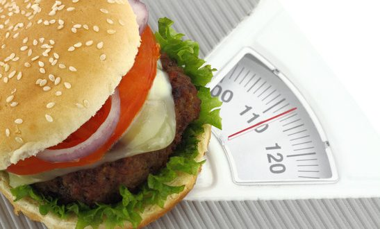 Burger on a weight scale