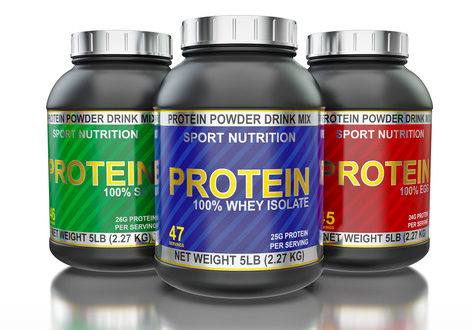 Sport nutrition, bodybuilding supplements, sport diet concept - whey isolate, soy and egg protein jar cans in line isolated on white background with reflection
