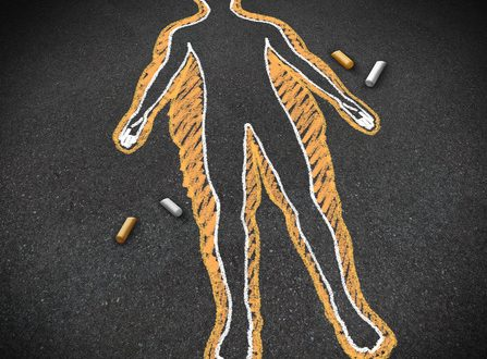 Dieting and body health concept as a chalk drawing on a road surface with an obese person and a thin one inside as a weight loss goal symbol for a healthy fitness diet and exercise lifestyle.