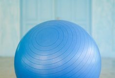 Closeup of swiss ball in a fitness studio