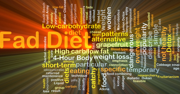 Background concept wordcloud illustration of fad diet glowing light