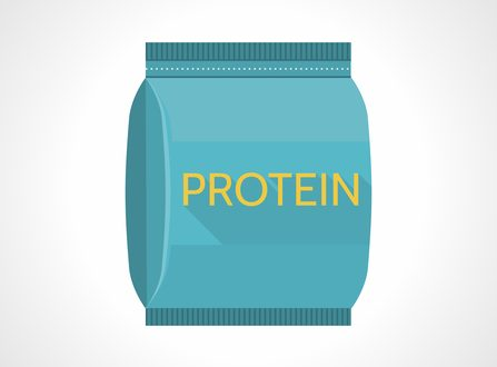 Flat color design icon for blue pack of meal replacement with yellow word Protein on white background.