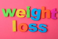 Weight loss words on pink background
