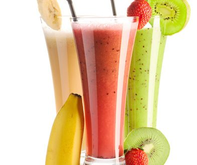 Smoothies isolated on white - strawberry, kiwi & banana
