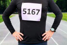 Male marathon runner ready to run race.