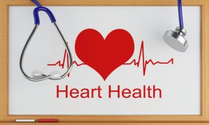 3d illustration. Stethoscope and blackboard with heart health. Medical concept