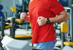 cardio-fitness jogging at treadmill