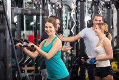 Adults having strength training