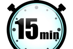 Vector illustration of fifteen minutes stopwatch on white background